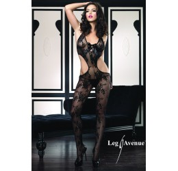 Bodystocking nera in pizzo stringata davanti LA89049