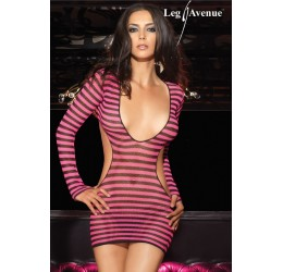 Mini abito in rete a righe nere rosa e perizoma la28037 Leg Avenue