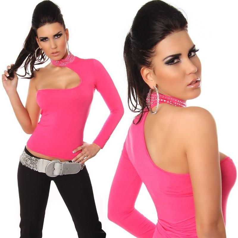 Sexy top maglietta rosa monospalla con strass tg. unica 40/44