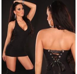 Mini abito nero in lycra stringato dietro taglia unica 40/44