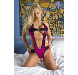 Body in lycra rosa fuchsia con fascia in pizzo nero da Bodyzone