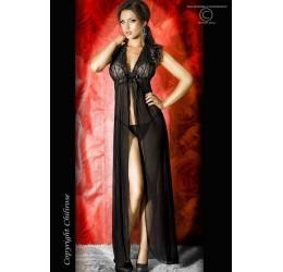 Sexy Vestaglia lunga nera in chiffon e perizoma da Chilirose