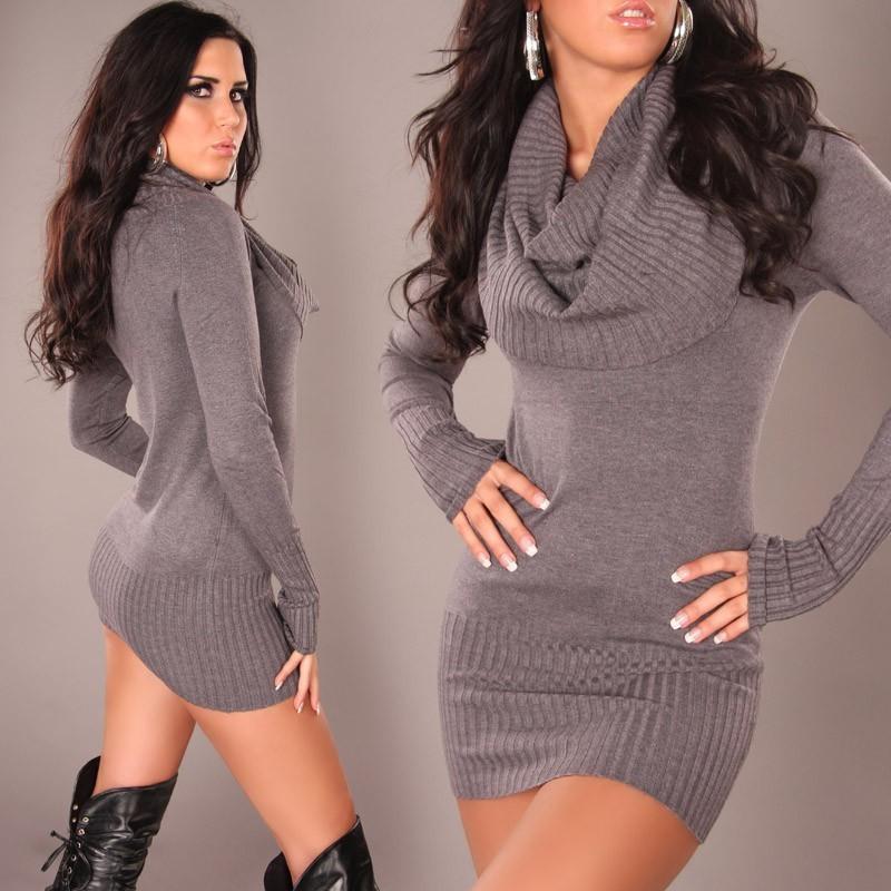Pullover lungo/mini abito grigio scuro a collo alto