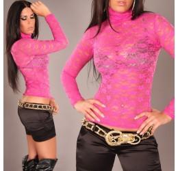 Sexy top maglietta in pizzo rosa fuchsia tg. unica 40/44