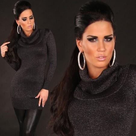 Stupendo Pullover lungo/mini abito nero glitter a collo alto