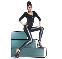 'Vanessa' Treggings Neri in simil pelle con cuciture a rilievo