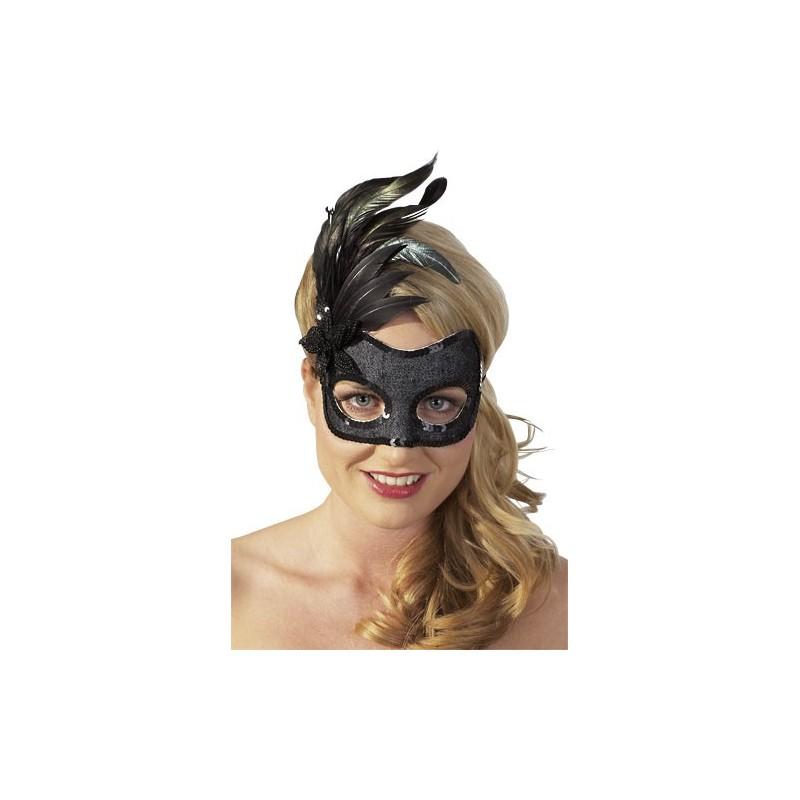 Sexy Maschera nera con piume nere