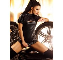 Sexy Mini abito nero lucido con zip 'Wet Look' Fetish