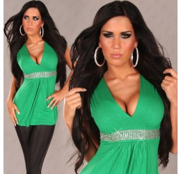 Sexy top verde con strass tg. unica 40/44