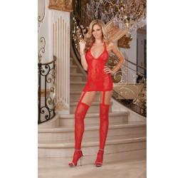 Sexy Abito in pizzo rosso con reggicalze e calze incorporate DG-0074 DreamGirl