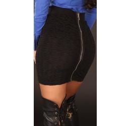 Sexy Minigonna nera con zip taglia unica 40/44