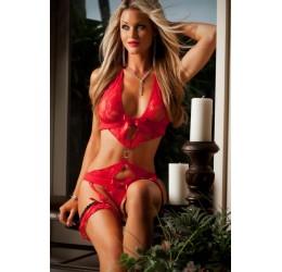 Body Donna in pizzo rosso con reggicalze e giarrettiere G-World