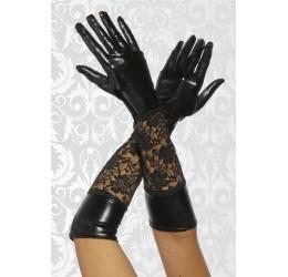 Sexy guanti neri lunghi in lycra e pizzo taglia unica