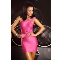 'Pink Panther' Mini abito rosa lucido con zip Lolitta Lingerie