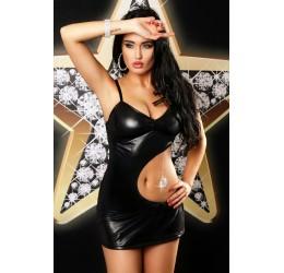 'Addict dress' Fantastico Mini abito nero lucido con gioiello