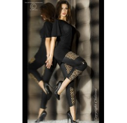 Sexy leggings neri leopardati con zip da Chilirose taglia unica
