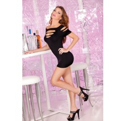 Sexy Mini abito nero con strappi Pink Lipstick Lingerie