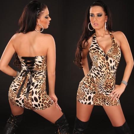 Mini abito leopardato in lycra stringato dietro taglia unica 40/44