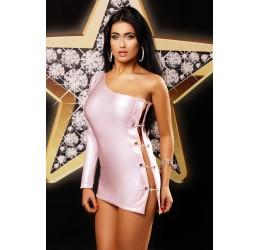 'Only One dress' Mini abito rosa glitter monospalla