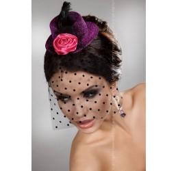 Cappellino viola glitter con rosa e veletta LivCo burlesque