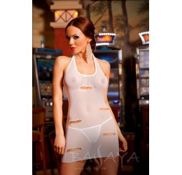 Abito bianco con strappi + perizoma mod. 'Camila' Passion Lingerie