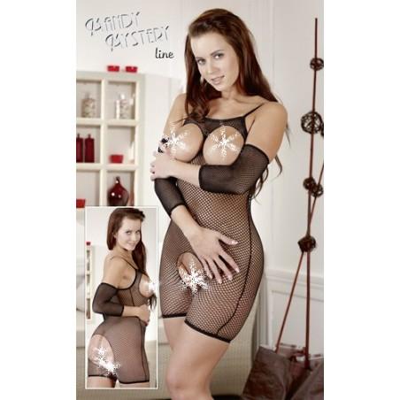 Sexy catsuit/bodypant a rete con ampie aperture