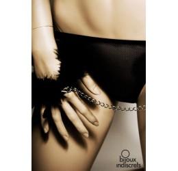 Manette in piume nere con catenella argentata - Bijoux Indiscrets