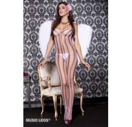 Bodystocking in rete rosa con strisce nere Music Legs