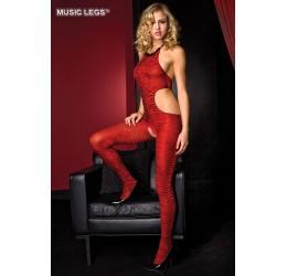 Bodystocking Tuta Sexy zebrata Rossa Aperta al cavallo Music Legs