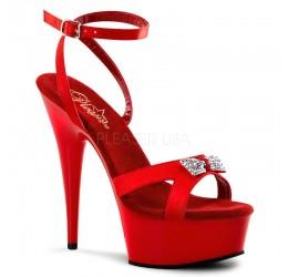 Sexy Sandali con plateau rossi con strass Tacco 15 cm Pleaser 'Delight'