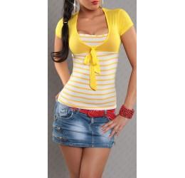 Sexy Maglietta a righe gialla legata davanti 40/44