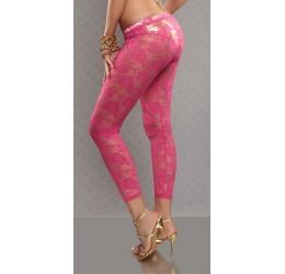 Sexy leggings pantacollant rosa fuchsia in pizzo ricamati