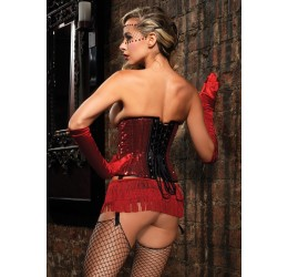 Micro Gonna nera rivestita con balze in frange rosse Leg Avenue Burlesque