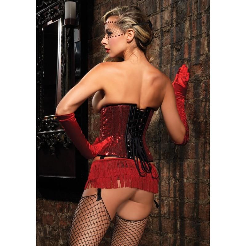 Micro Gonna nera rivestita con balze in frange rosse Leg Avenue Burlesque