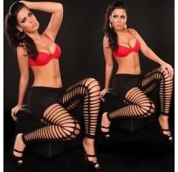 Sexy leggings neri pantacollant con strappi taglia unica 40/44