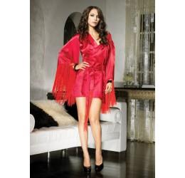 Sexy Kimono in raso rosso con frangie LA31046 Leg Avenue