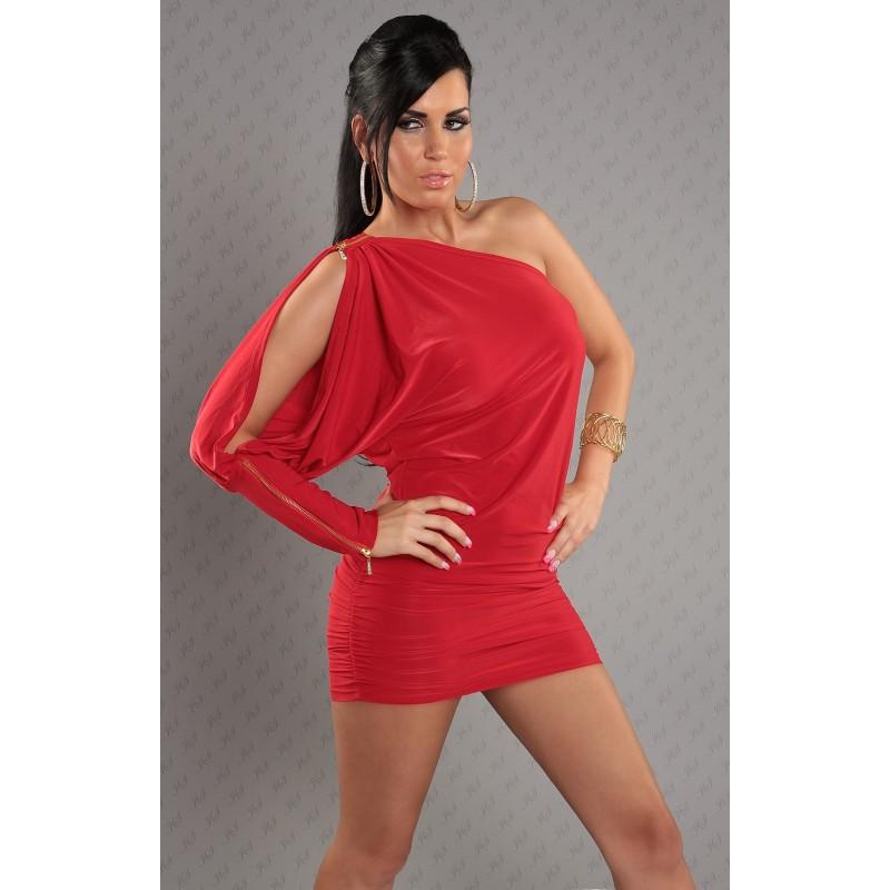 Sexy mini abito monospalla rosso con zip tg. 40/44