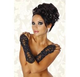 Intimo sexy guanti infradito in raso nero con ricami e perline
