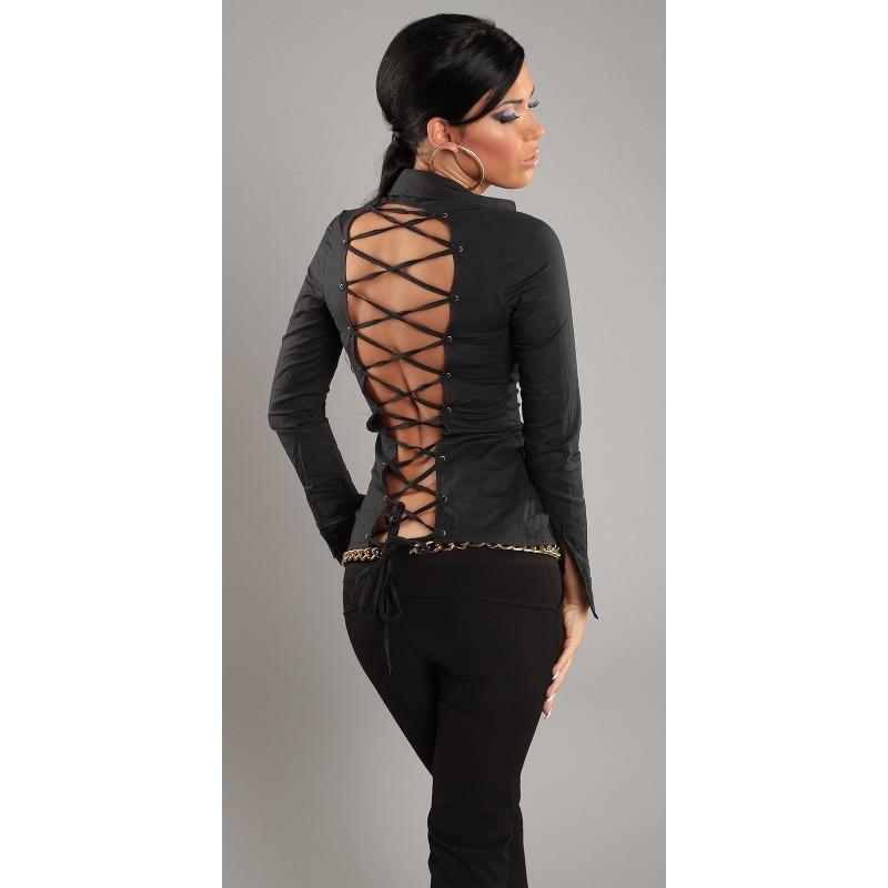 Sexy camicetta nera con stringatura posteriore