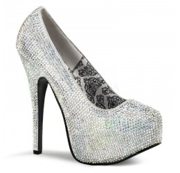 Eleganti scarpe decollete' rivestite in strass con plateau Tacco 14 cm Bordello Teeze