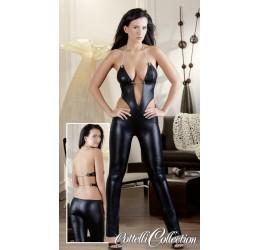 Sexy Tuta nera lucida effetto bagnato con catenelle Cottelli Collection