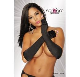 Sexy guanti lunghi in raso nero senza dita