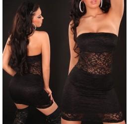 Sexy mini abito tubino nero rivestito in pizzo tg. 38/42