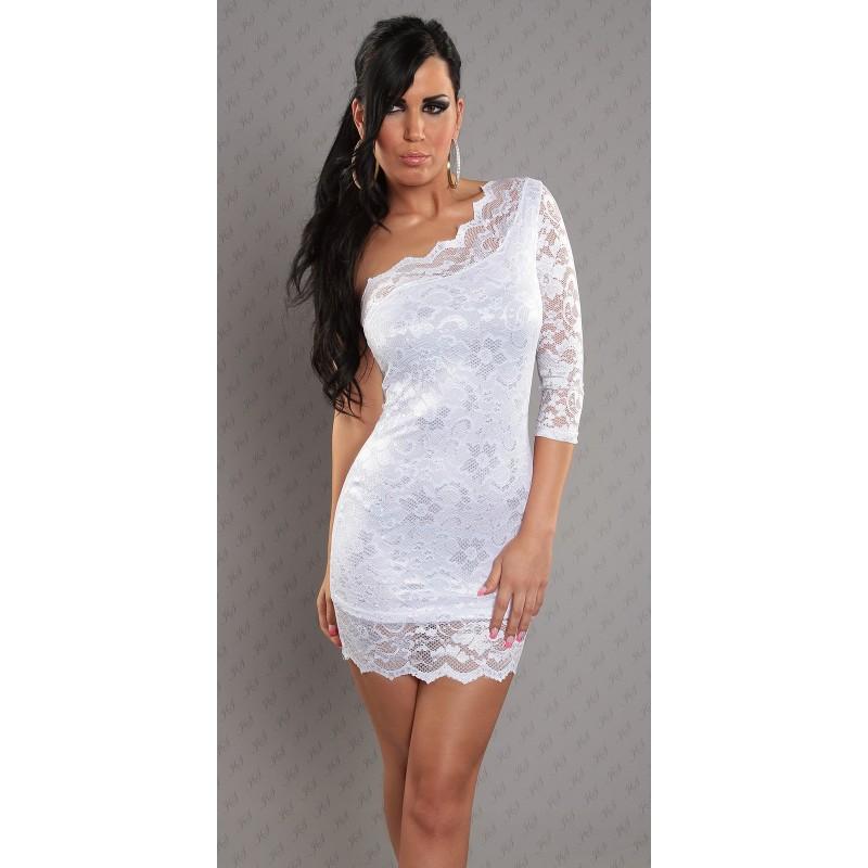 promo code 9afbd a2232 Sexy mini abito bianco monospalla rivestito in pizzo | Mini abiti |  Rosanerastore Color bianco Size 40
