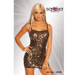 Sexy mini abito nero trasparente con applicazioni da Saresia