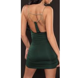 Sexy mini abito verde scuro con catenelle dorate tg. unica 40/44
