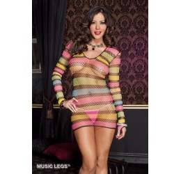Mini Abito in rete multicolore Music Legs ML-6617